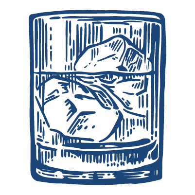b2b brand distilling served on ice large illustration in blue